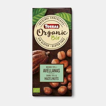 Ciocolata amara cu alune Bio f/a gluten Torras 100g
