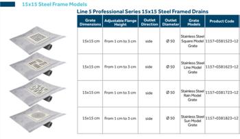 Слив трап для душа Line 5 PROFESSIONAL SERIES 15x15cm RAIN