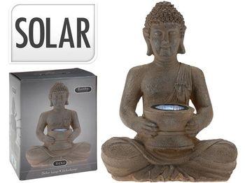 "Felinar pe baterie solara ""Buddha"" 31cm, argintiu"