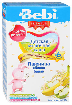 купить Bebi Premium каша пшеничная молочная яблоко, банан, 6+мес. 250г в Кишинёве