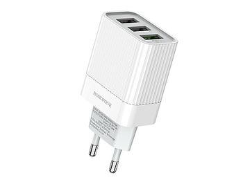 Borofone BA40A Speedway three-Port QC3.0 charger (EU) white, 723369 (incarcator universal/универсальное зарядное устройство для планшетов и смартфонов)