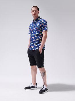 Рубашка CROPP Темно синий с принтом yn661