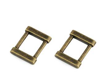 Inel metalic dreptunghiular/Cataramă, lățime 15 mm / alamă antică