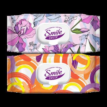 Влажные салфетки с клапаном Smile Decor Flowers & Circles, 60 шт.