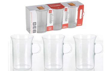 Чашки для кофе стеклянные 3шт, 250ml