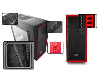 купить Case ATX Deepcool TESSERACT SW-RD, w/o PSU, 2x120mm, Red LED, Side Window, USB3.0, Black в Кишинёве