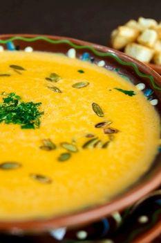 Суп крем из тыквы с гренками