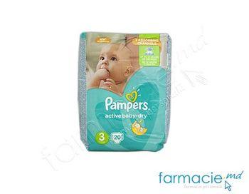 купить Scutece PAMPERS Active Baby Dry 3 ( 5-9 kg) N20 в Кишинёве