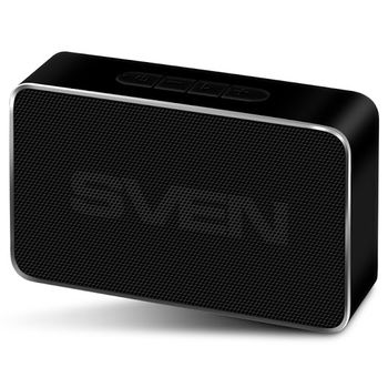 SVEN PS-85 Black, Bluetooth Portable Speaker, 5W RMS, FM tuner, USB & microSD, TWS, built-in lithium battery -600 mAh, ALUMINIUM CASE, black