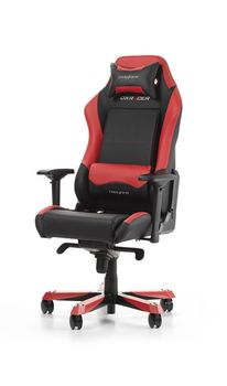 Gaming Chairs DXRacer - Iron GC-I11-NR-S4, Black/Black/Red - PU leather & PVC leather, Gamer weight up to 130kg / growth 160-195cm,Foam Density 52kg/m3, 5-star Wide Alum Base,Gas Lift 4 Class,Recline 90*-135*,Armrests:4D,Pillow-2,Caster-3*PU,W-30kg
