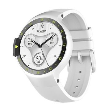 "Mobvoi  Ticwatch S  Glacier White, 1.4"" OLED Touch Display, Wear OS by Google, 512MB/4GB, GPS, Time, Mic/Speaker for incoming calls, Heart Rate, Steps, Alarm, Distance Display, Average Daily Steps, Weather, Notifications, IP67, 48Hrs+, BT4.1, 45.5g"