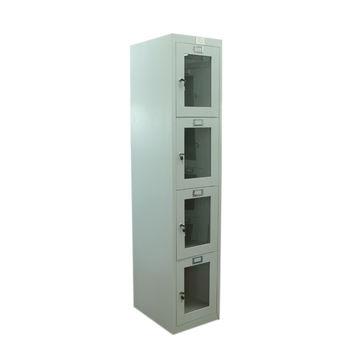 купить Металлический шкаф для одежды с стеклянными дверями 4 двери 1850x380x450 mm, RAL 9001 в Кишинёве