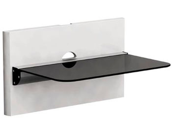 DVD Bracket Brateck DVD-18-01 Aluminium&Glass 1 shelve + Wall pannel 305mmx465mm, 8Kg, Cable management (suport de perete pentru DVD/крепление подвес настенный кронштейн для DVD)