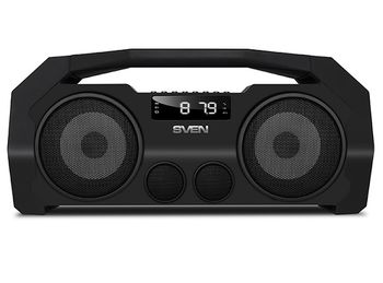 SVEN PS-465, Bluetooth Portable Speaker, 18W RMS, Support for iPad & smartphone, Bluetooth, LED display, FM tuner, USB & microSD, built-in lithium battery -1800 mAh, tracks control, AUX stereo input, Headset mode, USB or 5V DC power supply, Black