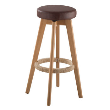 cumpără Scaun din lemn cu şezut din piele, 430x180.5x740 mm în Chișinău