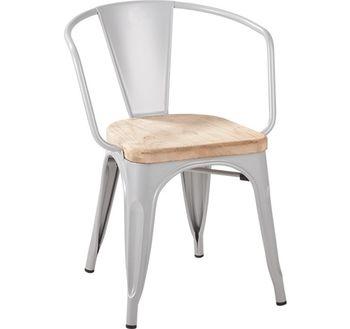 купить Металлический стул с сидением из натурального дерева, 540.5x540.5x1130 мм, белый в Кишинёве
