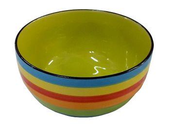 cumpără Salatiera din ceramicaD12.9cm, H7cm, linii aprinse multicolore (linie albastra) în Chișinău