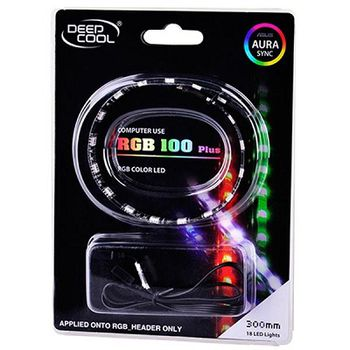 """RGD LED strips  DEEPCOOL """"RGB 100 Plus"""", applicable with Motherboards with RGB header, RGB color LED strip: 300mm (+500mm extension cable), Magnet-based mounting, Stable and long lifespan, Software control (ASUS Aura/MSI Mystic/Gigabyte Fusion)"""