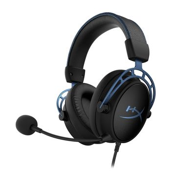 HYPERX Cloud Alpha S Headset, Black/Blue, Solid aluminium build, Microphone: detachable, Frequency response: 13Hz–27,000 Hz, Detachable headset cable length:1m+2m extension, Dual Chamber Drivers, 3.5 jack, Virtual 7.1 surround sound, Braided cable