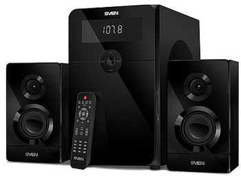 Active Speakers SVEN MS-2250 Black, mini music system: LED display, remote, Bluetooth, FM Tuner, USB port, SD slot ( 2.1 surround, RMS 80W, 50W subwoofer, 2x15W Satellites ), www