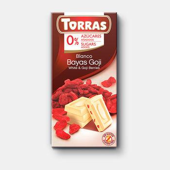 Ciocolata alba & goji f/a zahar  f/a gluten Torras 75g