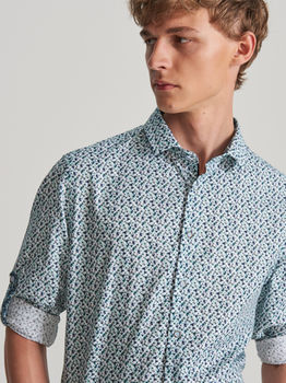Рубашка RESERVED Белый с цветами vv041-05p