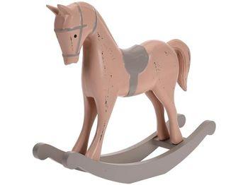 Статуэтка Лошадь 27X22X6cm, дерево, розовая
