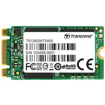M.2 SSD 128GB Transcend MTS400, Sequential Reads 560 MB/s, Sequential Writes 460 MB/s, Max Random 4k Read 70,000 / Write 70,000 IOPS, M.2 Type 2242 form factor, NAND MLC