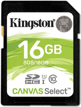 Kingston 16GB SDHC Canvas Select Class10 UHS-I, 400x, Up to: 80MB/s