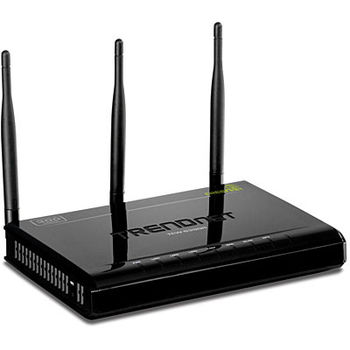 TRENDnet TEW-639GR, N300 Wireless Gigabit Router, 3T3R, 2.4GHz, 802.11n Draft 2.0, 802.11g/b,  WAN: 1x 10/100/1000Mbps, LAN: 4x 10/100/1000Mbps, 3x 4dBi fixed dipole antenna, GREENnet technology
