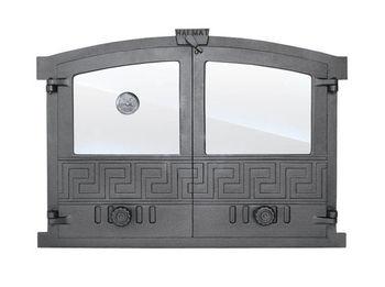 Дверца чугунная со стеклом двустворчатая с термометром GREECE 4