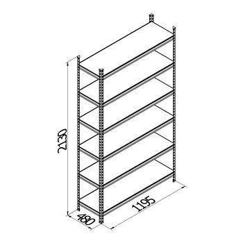 купить Стеллаж металлический Gama Box 1195Wx480Dx2130H, 6 полок/0164PE антрацит в Кишинёве