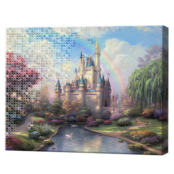 Зачарованный замок, 40x50 см, комбо-набор числовой росписи + алмазная мозаика, YHDGJ70303