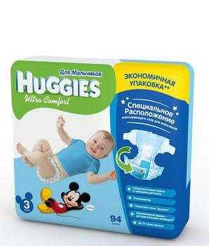 Huggies подгузники Ultra Comfort 3 для мальчиков  (5-9 кг) (94 шт.)
