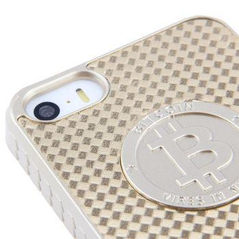 Чехол для iPhone 5 / 5S BITCOIN, Золотой карбон