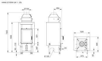 Каминная топка - HOXTER HAKA 37/50W(37/50WI) - с водяным теплообменником