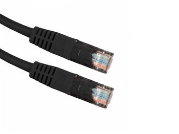 "Patch cord UTP Cat.5e  3m - black, PP12-3M/BK, molded strain relief 50u"" plugs"