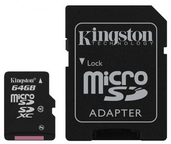 Kingston 64GB microSDXC Class10 UHS-I with SD adapter, 300x, Up to: 45MB/s
