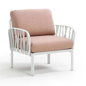 Кресло с подушками для сада и терас Nardi KOMODO POLTRONA BIANCO-rosa quarzo 40371.00.066