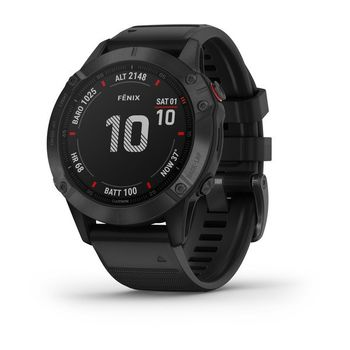 "GARMIN fenix 6 Pro Sapphire Carbon Gray DLC with Black Band, Multisport GPS Watch for Sport, 1.3"", Water rating 10ATM, 32GB, GPS, Compass, Bluetooth, Smart, ANT+, Wifi, Smart notifications and Activity Tracking Features, Battery up to 80 days, 72g"