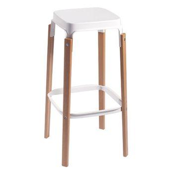 cumpără Scaun bar cu picioare din lemn şi şezut metalic, 430x180.5x740 mm, alb în Chișinău
