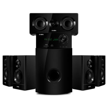 SVEN HT-210 Black,  5.1 / 20W + 5x15W RMS, Bluetooth v. 2.1 +EDR, FM-tuner, USB & SD card Input, Digital LED display, built-in clock, set the switch-off time, remote control, all wooden