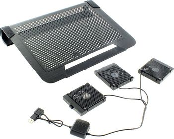 "CoolerMaster NotePal U3 Active (R9-NBC-8PCS-GP), Aluminium and Rubber Notebook Cooling Pad up to 17-19"", 3 removable fans with speed control -80x80x10mm, 950~1800rpm, 18dBA, Silver"