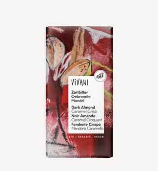 Темный шоколад с карамелизованным миндалем bio Vivani 100г