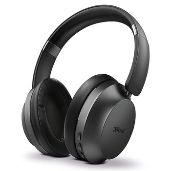 Trust Eaze Bluetooth Wireless Over-ear Headphones Black, Bluetooth and wired via the included 3.5mm cable, 40mm drivers,  30 hours playtime on a single charge, built-in microphone, Black