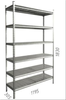 купить Стеллаж металлический с металлической плитой - 1195x305x1830 мм, 6 полок/MB в Кишинёве