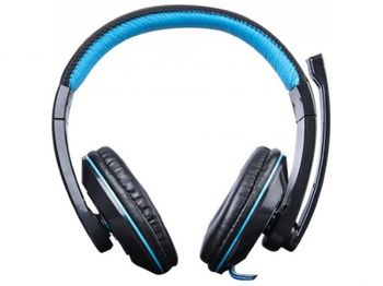 "MARVO ""Ice Dragon ASH-221"", Gaming Headset, Microphone, 40mm driver unit, Volume control, Adjustable headband, 3.5mm jack, Braded cable, Black-Blue"