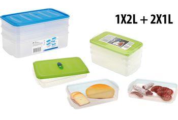 Набор емкостей для хранения продуктов 3шт(2Х1l ,1Х2l)