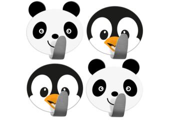 купить Tatkraft Designs 10468 Набора самоклеящихся детских крючков для полотенец, халатов и пальто, нержавеющая сталь, 2 панды и 2 пингвина в наборе. Tatkraft Designs в Кишинёве
