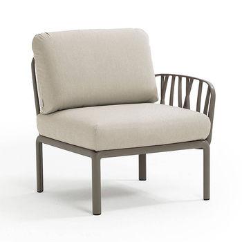 Кресло модуль правый / левый с подушками c водоотталкивающей тканью Nardi KOMODO ELEMENTO TERMINALE DX/SX TORTORA-TECH panama 40372.10.131